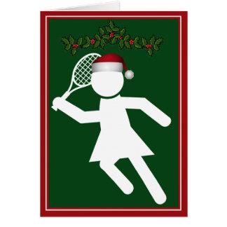 El jugador de tenis de las mujeres del navidad - tarjeta de felicitación