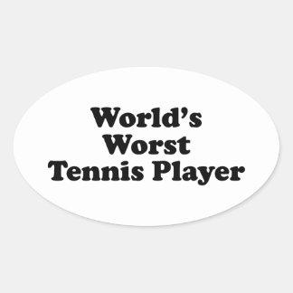 El jugador de tenis peor del mundo pegatinas de oval personalizadas