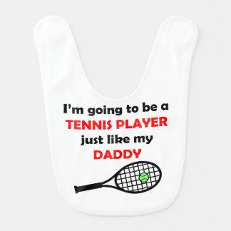 El jugador de tenis tiene gusto de mi papá babero de bebé
