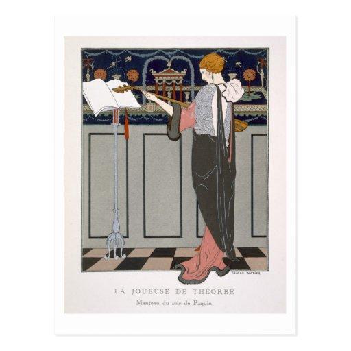 El jugador de Theorbo, diseño para una capa de la  Tarjeta Postal