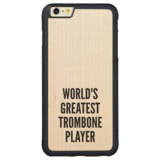 El jugador de Trombone más grande de los mundos Funda De Arce Bumper Carved® Para iPhone 6 Plus