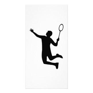 El jugador del bádminton salta tarjeta fotográfica