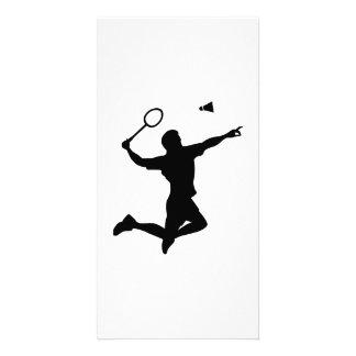 El jugador del bádminton salta tarjeta personal