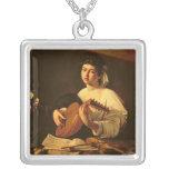 El jugador del laúd, c.1595 colgante cuadrado