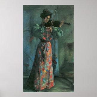 El jugador del violín de Lovis Corinto Póster