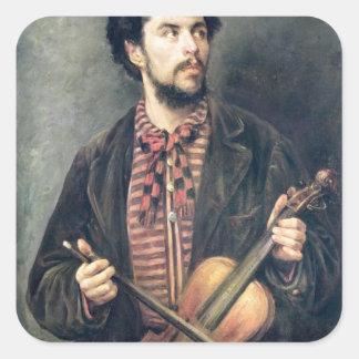 El jugador del violín pegatina cuadrada