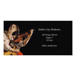 El jugador del violín tarjetas con fotos personalizadas