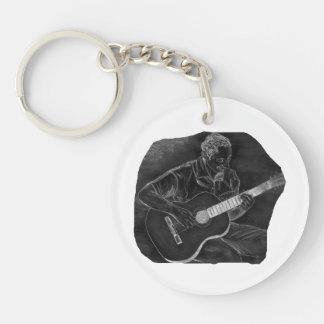 el jugador invertido de la guitarra acústica sient llavero redondo acrílico a doble cara