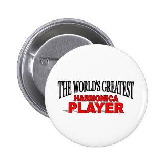 El jugador más grande de la armónica del mundo pin redondo de 2 pulgadas