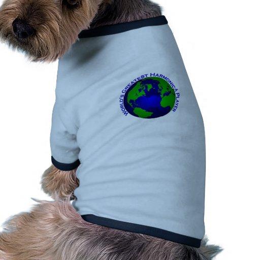 El jugador más grande de la armónica del mundo camiseta con mangas para perro
