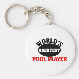 El jugador más grande de la piscina llavero redondo tipo pin