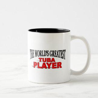 El jugador más grande de la tuba del mundo taza de dos tonos