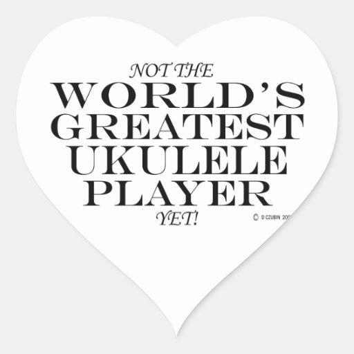 El jugador más grande del Ukulele todavía Pegatina En Forma De Corazón