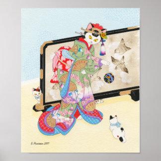 El jugar con la impresión Moussart de Ukiyoe de lo Posters