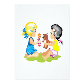 """El jugar con las muñecas invitación 5"""" x 7"""""""