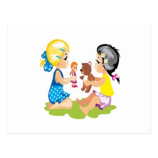 El jugar con las muñecas tarjetas postales