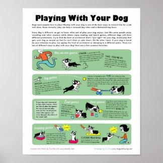 El jugar con su perro póster