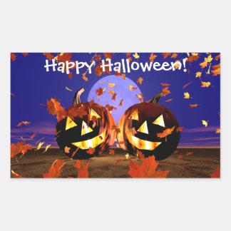 El jugar de las calabazas de Halloween Pegatina Rectangular