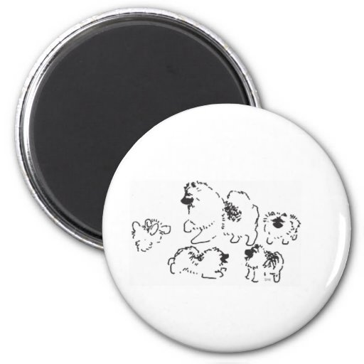 El jugar de los perritos del Keeshond Imán Redondo 5 Cm