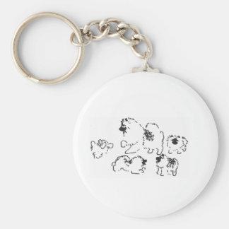 El jugar de los perritos del Keeshond Llavero Redondo Tipo Pin
