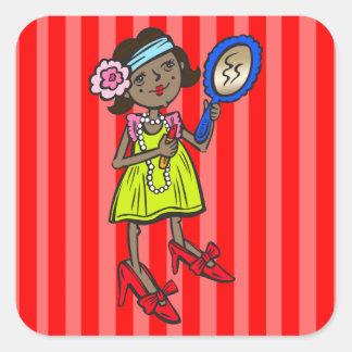 El jugar del chica se viste para arriba pegatina cuadrada