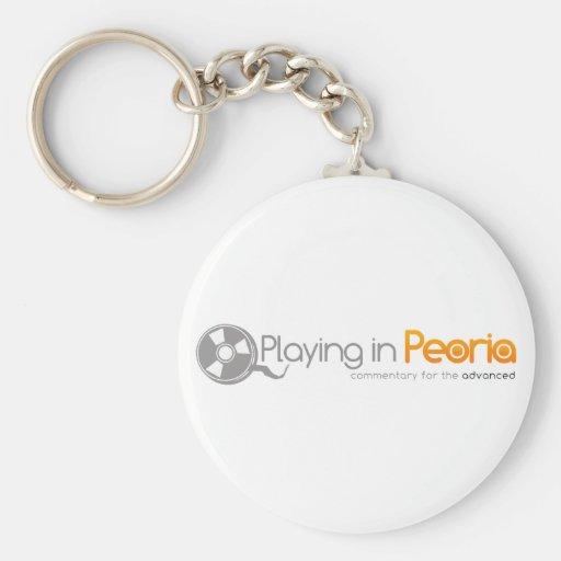 El jugar en el logotipo de Peoria Llavero Redondo Tipo Pin