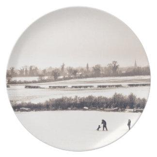 El jugar en la nieve plato para fiesta