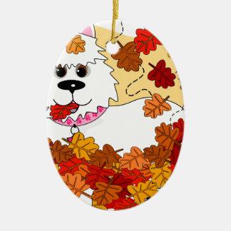 El jugar en las hojas adornos de navidad