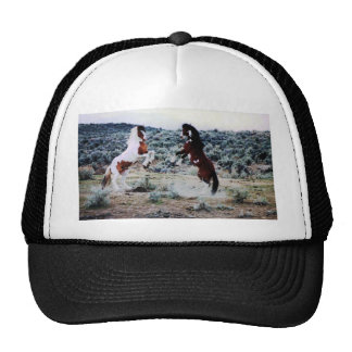 El jugar joven de dos caballos gorras de camionero