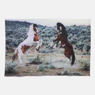 El jugar joven de dos caballos toalla de cocina