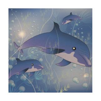 El jugar lindo de los delfínes cuadro de madera