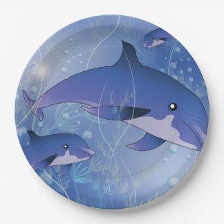 El jugar lindo de los delfínes plato de papel 22,86 cm