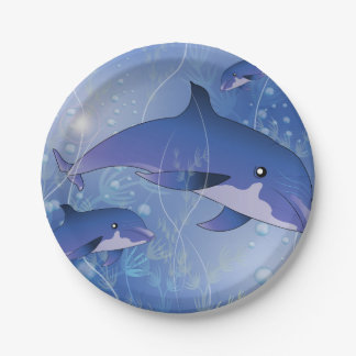 El jugar lindo de los delfínes plato de papel 17,78 cm