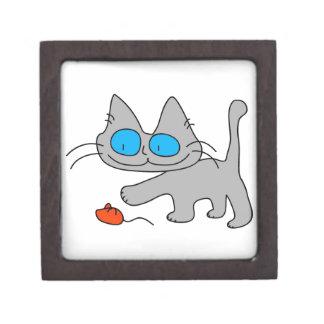 El jugar observado azul del gato del gatito caja de joyas de calidad