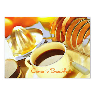 El jugo y Java vienen desayunar Invitación 12,7 X 17,8 Cm