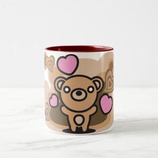 El juguete relleno del oso taza de dos tonos