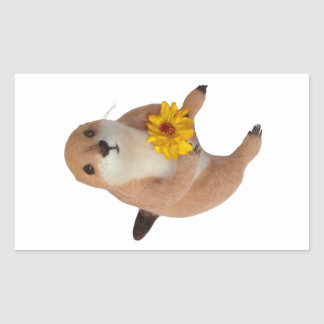 el juguete relleno del perro de las praderas pegatina rectangular