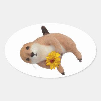 el juguete relleno del perro de las praderas pegatina ovalada