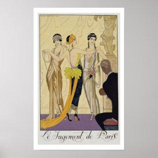 El juicio de París, 1920-30 (impresión del pochoir Póster