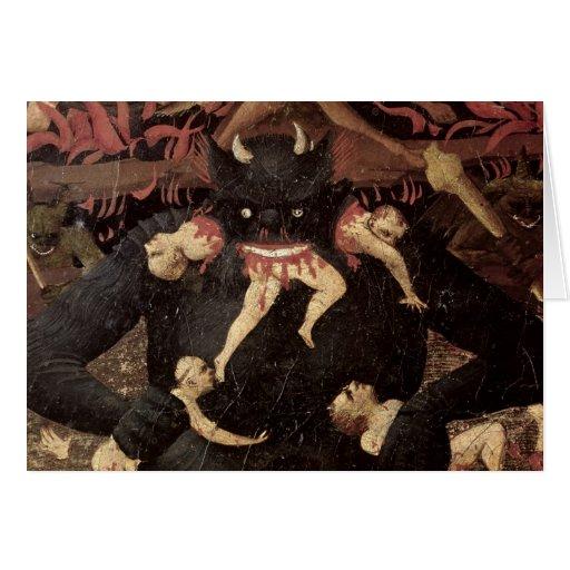 El juicio pasado, detalle de la voracidad de Satan Tarjetón