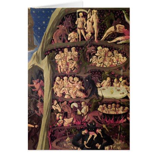 El juicio pasado, detalle del infierno, c.1431 tarjeta de felicitación