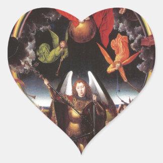 El juicio pasado. Hans Memling; c. 1467-1471 Pegatina En Forma De Corazón