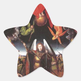 El juicio pasado. Hans Memling; c. 1467-1471 Pegatina En Forma De Estrella