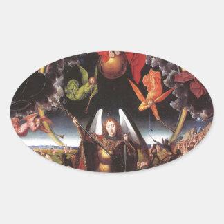 El juicio pasado. Hans Memling; c. 1467-1471 Pegatina Ovalada