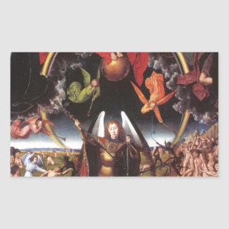 El juicio pasado. Hans Memling; c. 1467-1471 Pegatina Rectangular