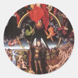 El juicio pasado. Hans Memling; c. 1467-1471 Pegatina Redonda