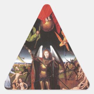 El juicio pasado. Hans Memling; c. 1467-1471 Pegatina Triangular