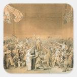 El juramento del campo de tenis, el 20 de junio de pegatina cuadrada