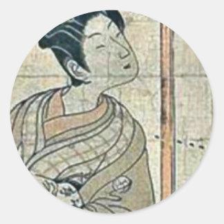 El Kanadehon Chushingura por Utagawa, Toyoharu Pegatina Redonda