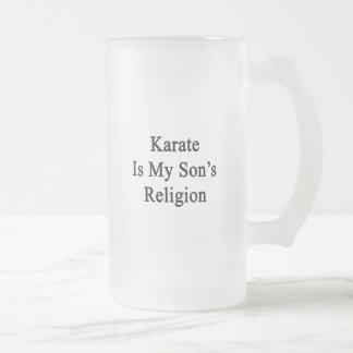 El karate es la religión de mi hijo taza cristal mate